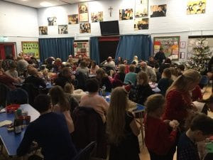 Our families enjoying bingo, quiz and pie and peas at our Xmas family night